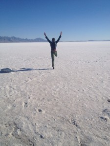 taking the leap! the author jumping for joy at the bonneville salt flats...